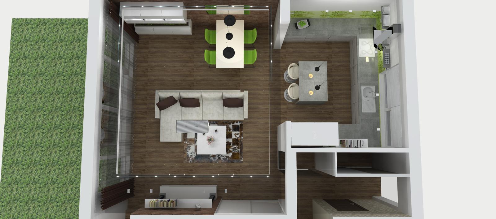 Obývačko-kuchyne I. - rozloženie na žiadosť majiteľov