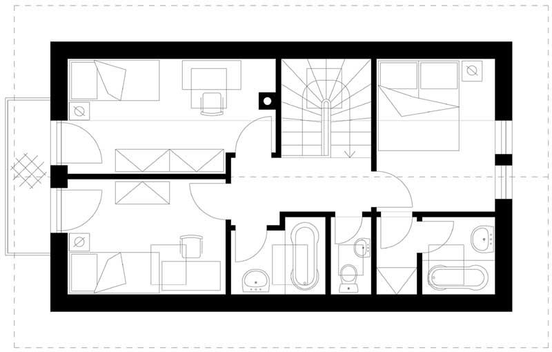 Náš, učupený pod lesom - Horné podlažie upravíme : kúpeľňa vpravo pri spálni - miesto nej bude šatník. Kupelňa a wc-ko spojíme do jednej miestnosti. Máme chrobáka v hlave nechať izby ako otvorený priestor...ak bude treba neskôr možno dorobíme priečky