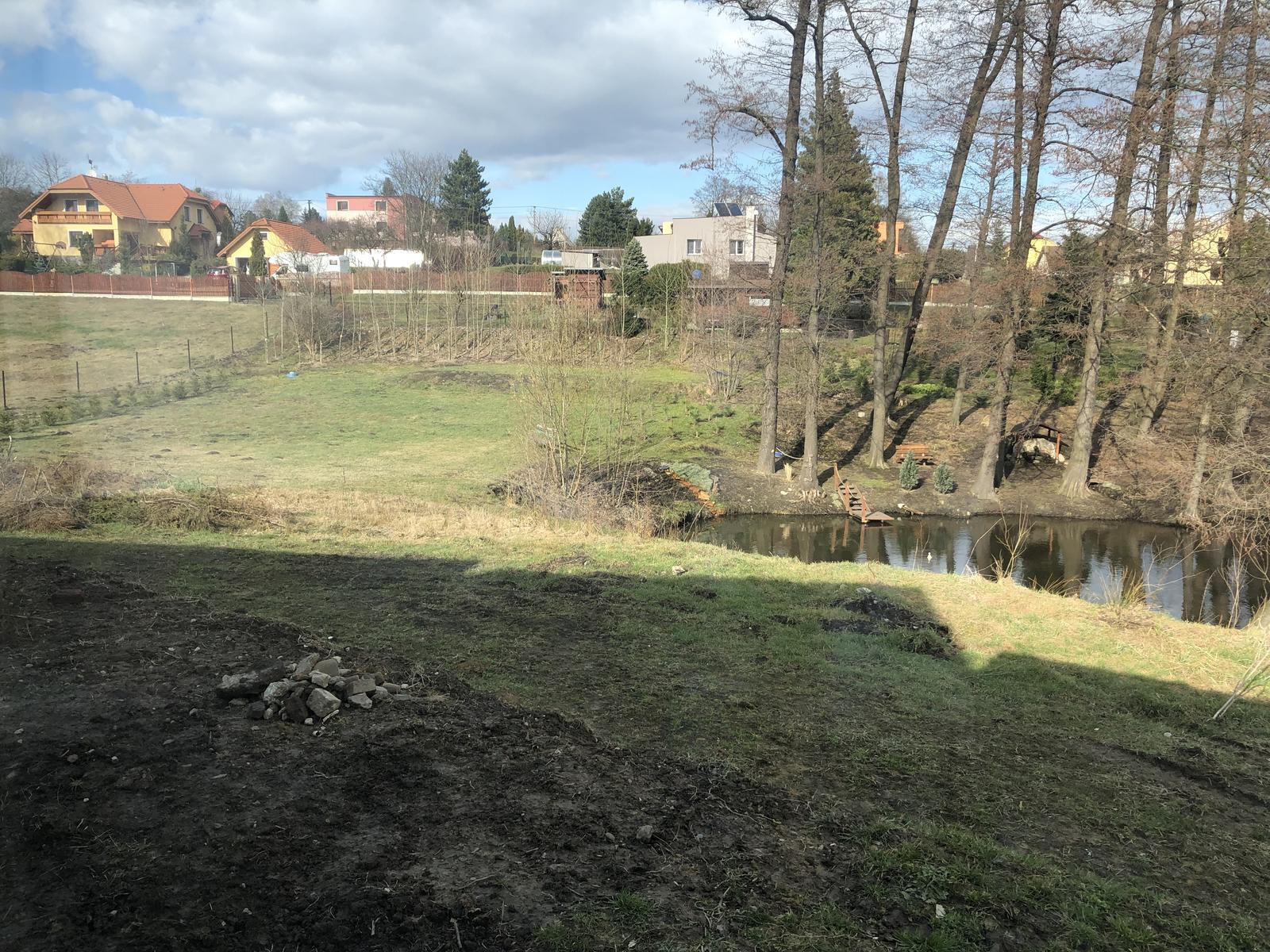 Zahrada u rybníčku - Vzadu bych chtěla pergolu s ohněm a mini skleníček... ovoce a zeleninu... alespoň něco málo