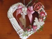 Vintage srdce v staroružovej farbe,