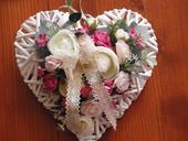 Srdce - ivory, pink, cyklamen,