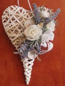 Srdce s ružami a levanduľou 30cm,