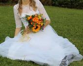 Sněhově bílé lehké krajkové šaty-3/4 rukávy, 38