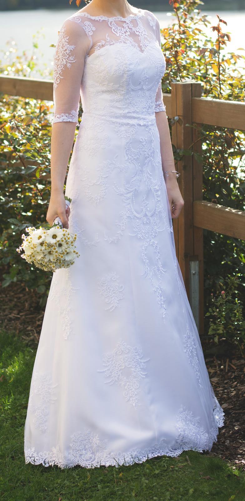 Celokrajkové, Krajkové svatební šaty vel. 36-38 - Obrázek č. 1