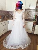 Krajkové svatební šaty S i menší M, 36