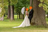 Luxusní španělské svatební šaty + šaty družiček, 38