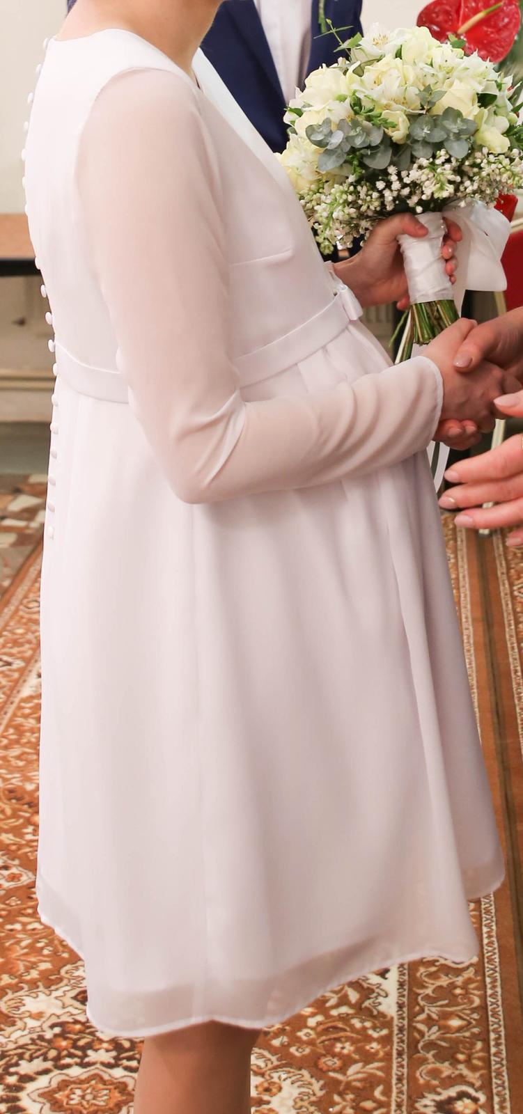 Tehotenské svadobné šaty veľ. XS/S - Obrázok č. 3
