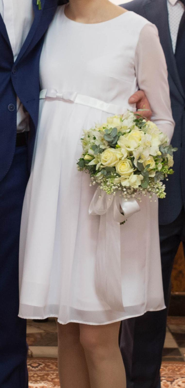 Tehotenské svadobné šaty veľ. XS/S - Obrázok č. 1