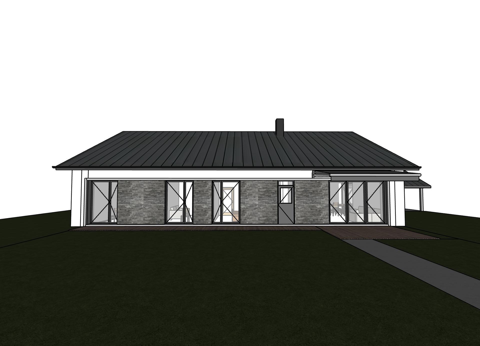 Začátek našeho vysněného bydlení🏡 - 3/4 - První 3D vizuál 🤗 Dveře budou plné.   Přemýšlíme zda ponechat francouzská okna i v dětském pokoji a pracovně (2 krajní okna zleva). Podle mě kdybychom tam dali klasické, tak to bude kazit celkový vzhled domu. Co myslíte?