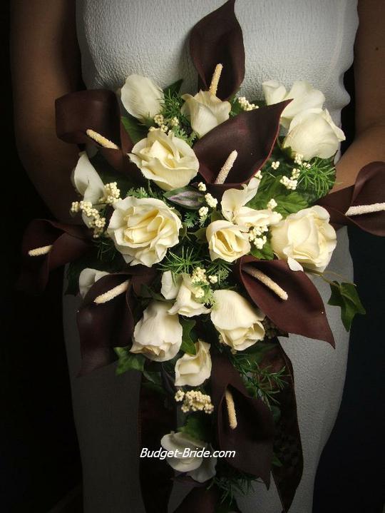 Inspirace na svatbu - svatební kytice :) mám obavu, že hnědé kaly asi tady bude problém :(