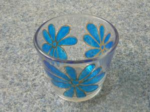 modré svícny na svatební stůl (díky za nápad :-))