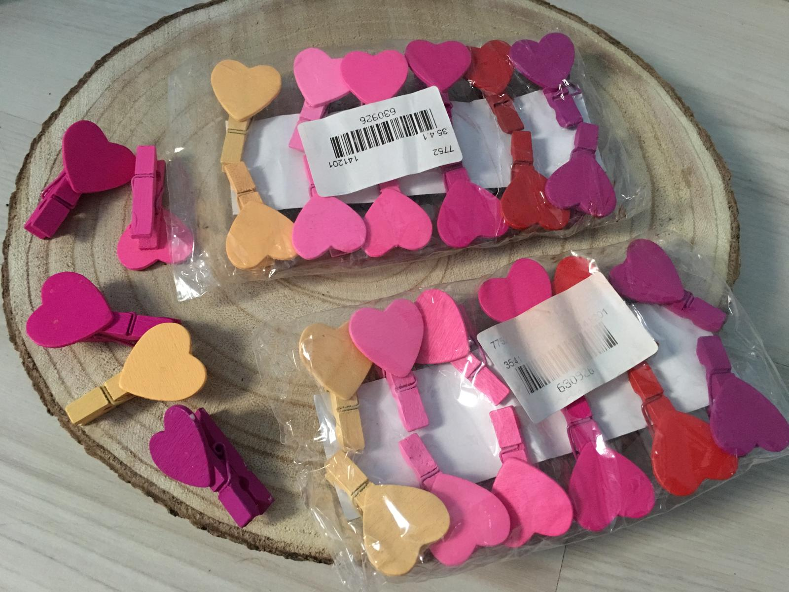 Srdiečkove štipce na rôzne využitie (farebne) - Obrázok č. 1