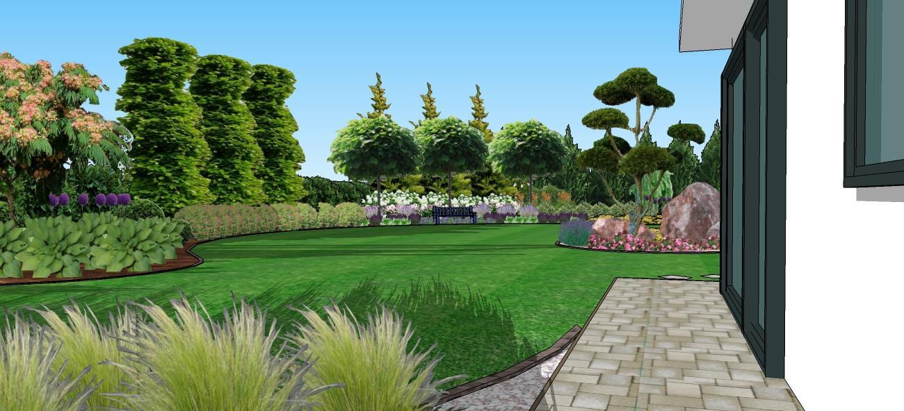 3D navrh zahradky - s katalpami