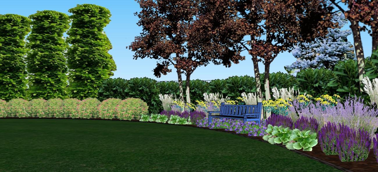 3D navrh zahradky - s troma cervenymi brezami
