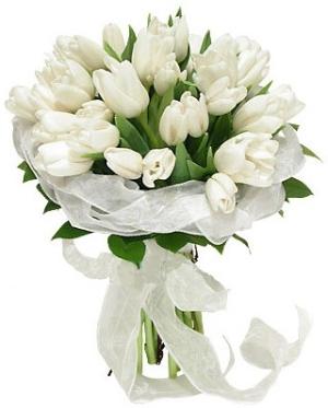 Prípravy a všetko s tým súvisiace - kytica na 100% biele tulipány