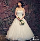 Svatební šaty s krajkovým korzetem vel. 34 , 34