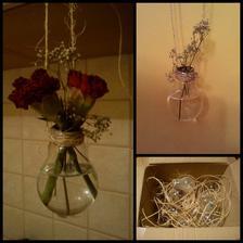 všetky žiarovky čo som zatiaľ zohnala pripravené na použitie :) a pokusný králik už visí v kuchyni, pre istotu, aby som sa uistila, že niekomu na svadbe nepadnú kvetiny na hlavu :D (samozrejme žiadne červené hrebíčky na svadbe nebudú :D)
