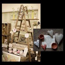takýto super rebrík s vecičkami chcem mať :) a pomaly zbieram, čo naňho uložím :) nejaké zvyšné ušité srdiečka, včera som našla krásnu servítku (dáme na nejakú nádobu), a malá sestrička doniesla z výtvarnej srdiečko a nádobky z keramiky :)