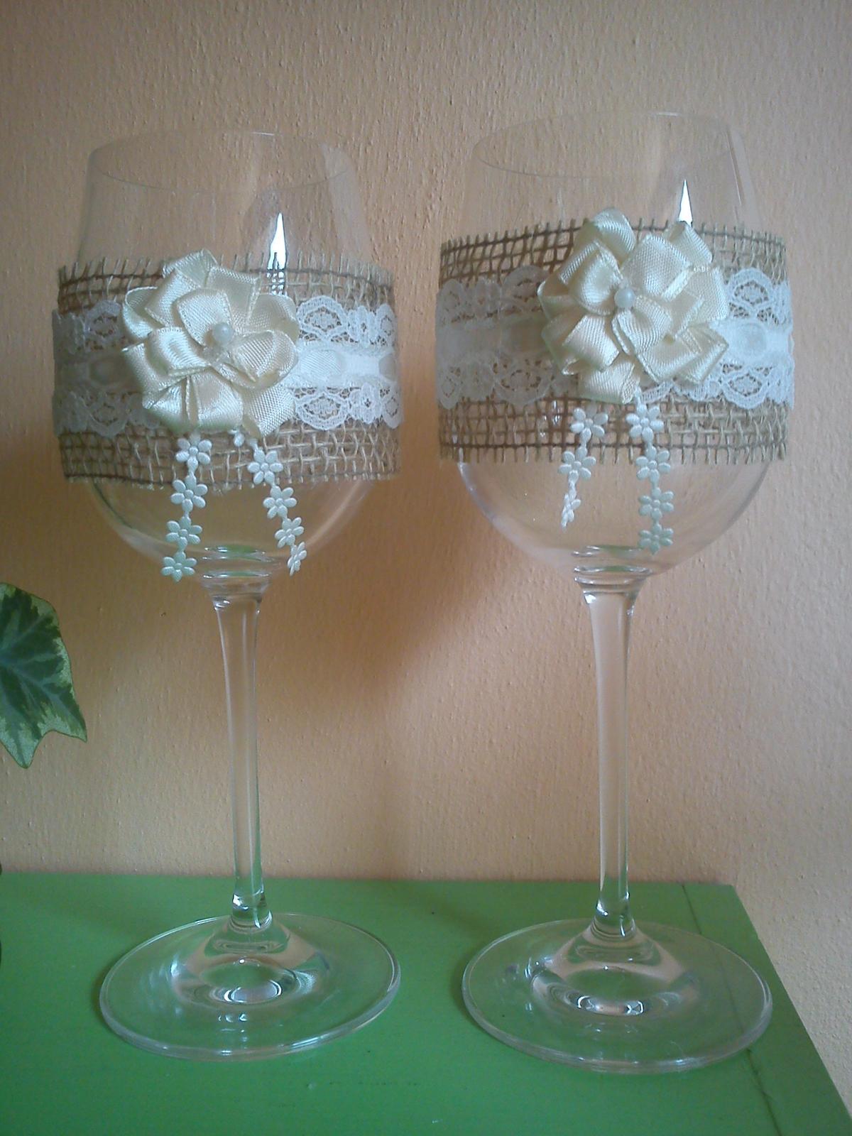 The First Day of Forever ♥ - naše svadobné poháre, ozdobila šikovná kamarátka :)