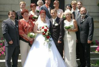 Celá naše sestava, 14 včetně novomanželů.