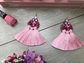 Ružové Strapcové náušnice Livia,