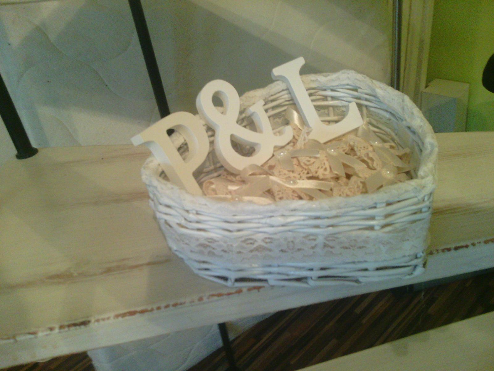 Co uz mame...alebo ako by to malo vyzerať :) - kosik na pierka, pismenka su tam len tak :D