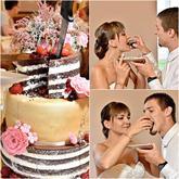 """""""Polonahý"""" dort - spodní a vrchní patro nahé, prostřední patro zvýšené, potažené pomerančovou hmotou a stříkané zlatým sprejem. Dozdobené čerstvým ovocem a cukrovými květinami"""
