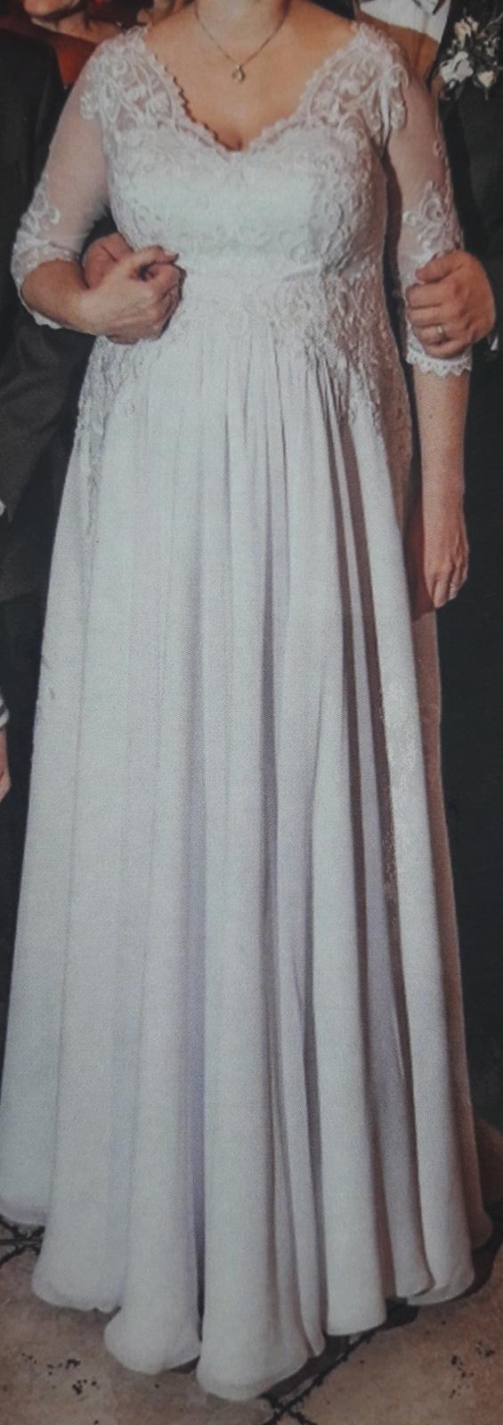 Tehotenské svadobné šaty 44/46 - Obrázok č. 1