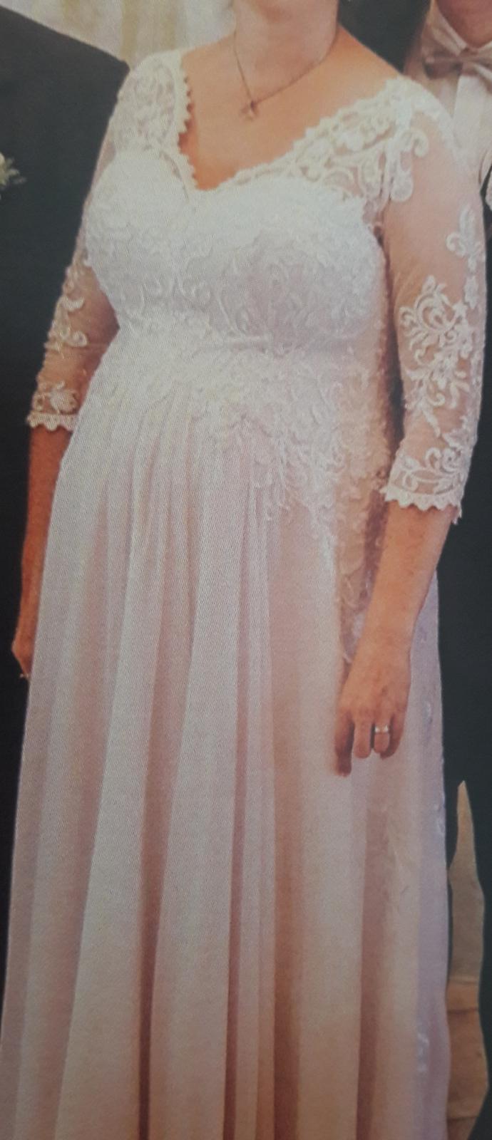 Tehotenské svadobné šaty 44/46 - Obrázok č. 2