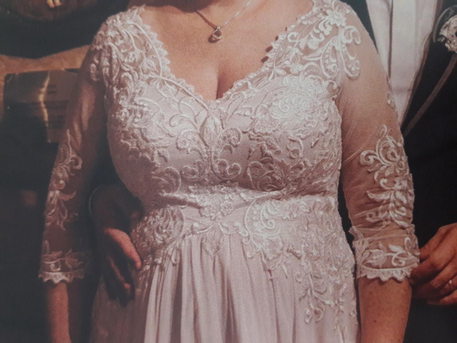 Tehotenské svadobné šaty 44/46 - Obrázok č. 3