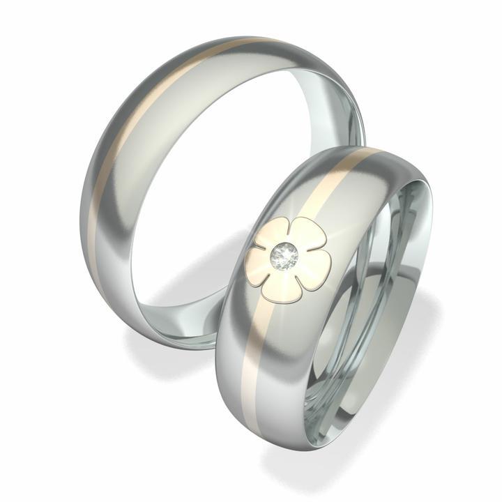 snubniprsteny - Snubní prsteny z chirurgické oceli s 14-ti karátovým zlatem a briliantem