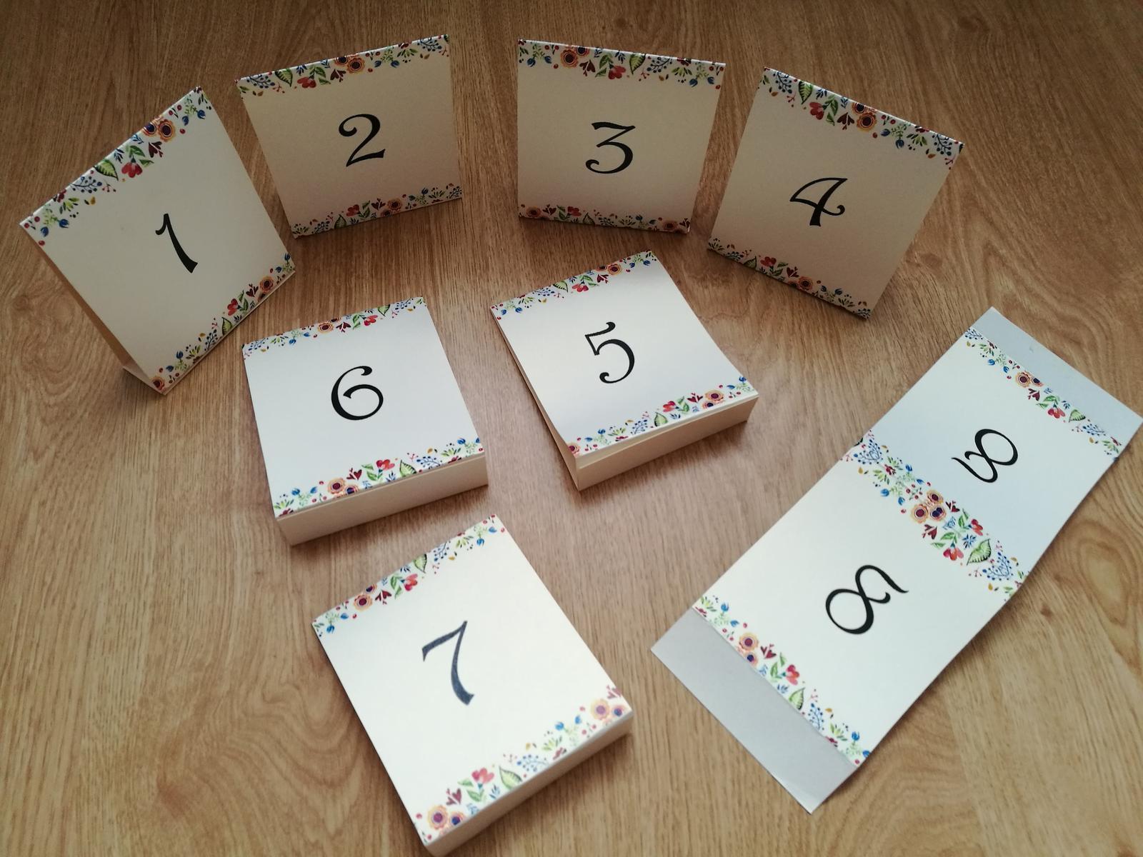 Označenie stolov 1 až 8 - Obrázok č. 1