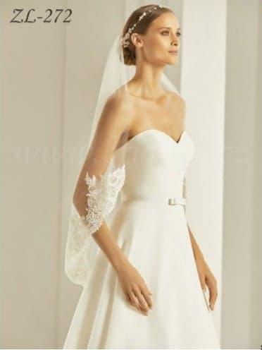 Stredne dlhý svadobný závoj so spodným čipkovaným  - Obrázok č. 1