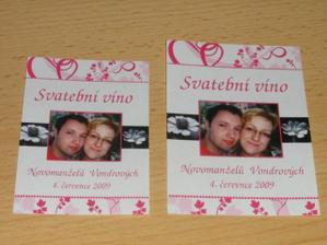 etikety na svatební víno- přední a zadní etiketa