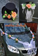 a takovýto set na auta budeme mít..já šerpu s růžemi a na kliky mašličky s růžičkami, miláček cylindr s růží