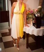Spoločenské šaty žlté + topanky gratis, 38