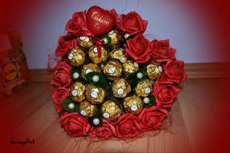 Valentínska kytica s Ferrero rocher