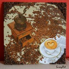 Kávový obraz do kuchyne :-) 33x33 cm