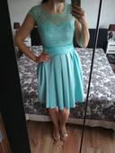 Mentolové krátke dámske šaty, 42