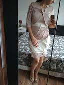 Pudrovo-ružové šaty s bolerkom, 42