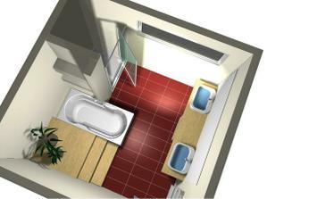 Naše vrchní koupelna - zatím jenom dispozičně. Nakonec jsme sprcháš a vanu přehodili :-)