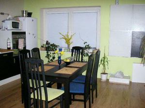 kuchyna teraz, len stolicky uz su vsetky so zelenym
