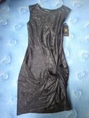 Společenské lesklé černé šaty vel. XS, XS