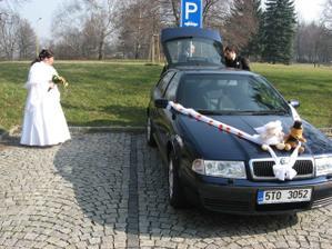 vyzdobené autí  před zámečkem