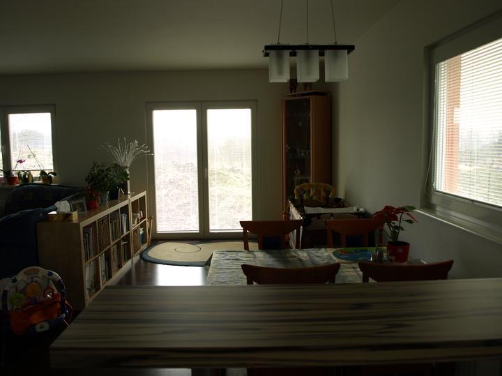 Bydlíme - pohled z kuchyně... venku hodně svítilo, tak je to kapku tmavší :-(