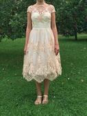 šaty s midi sukní v barvě růžového zlata, 38