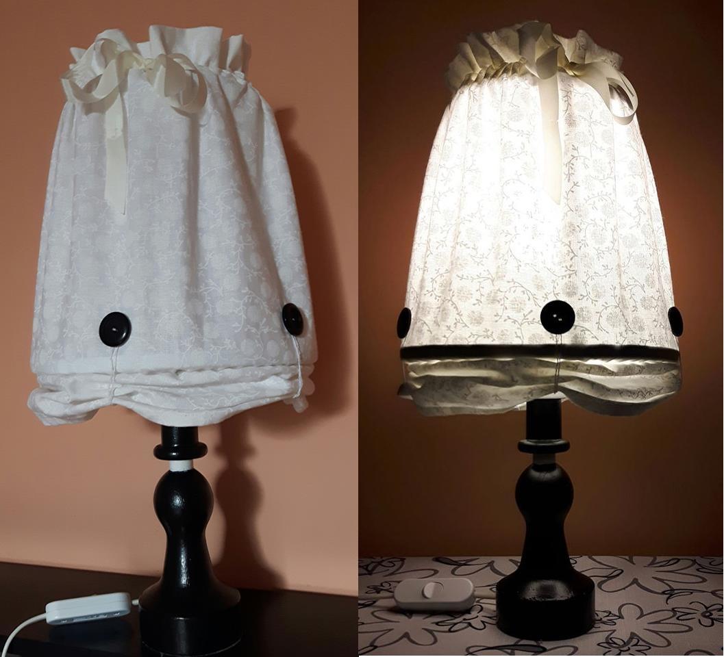 """Zo starého nové - toto bola stará drevená lampa po mužovej babke. Aj tienidlo bolo už roztrhané a roky ležala v pivnici. Ked ju teraz pred sťahovaním triedime, tak som si rozmyslela, že s ňou niečo vymyslím. Inšpirovala ma, myslím, """"tyrkysova"""" a jej stojatá lampa"""