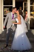 Čipkované biele svadobné šaty, 38