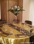 Prenájom štóle na stôl taft hnedá so vzorom,