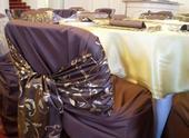 Prenájom mašle na stoličku taft hnedá so vzorom,